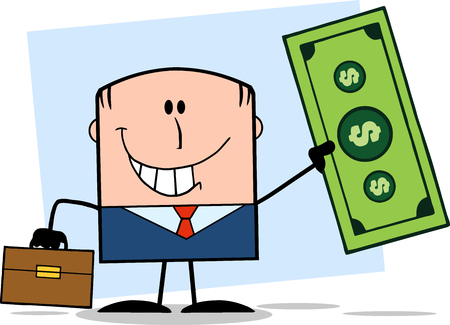 Lucky Businessman With Briefcase Holding A Dollar Bill Cartoon Character On Background Vector