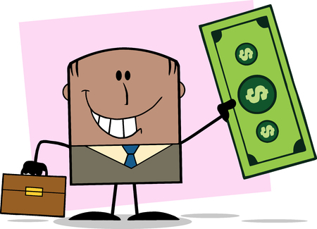 Lucky African American Businessman With Briefcase Holding A Dollar Bill Cartoon Character On Background Vector