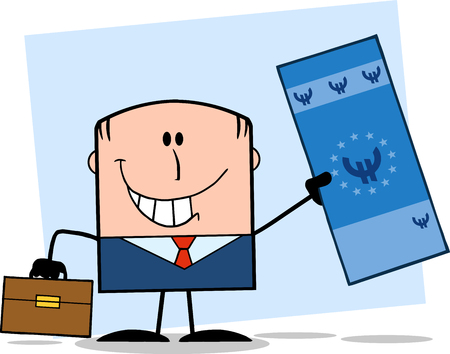 Lucky Businessman With Briefcase Holding A Euro Bill Cartoon Character On Background Vector