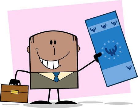 Lucky African America Businessman With Briefcase Holding A Euro Bill Cartoon Character  Vector