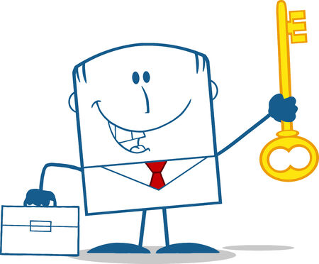 Happy Businessman With Briefcase Holding A Golden Key Monochrome Cartoon Character  Vector