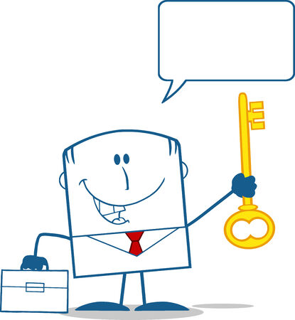 spech bubble: Happy Businessman Holding A Golden Key Monochrome Cartoon Character With Speech Bubble