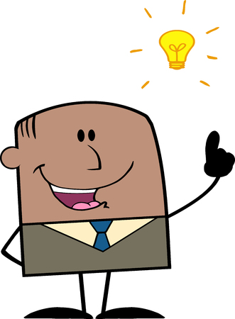 African American Businessman With A Bright Idea Cartoon Character Vector