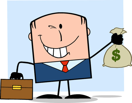 Winking Businessman With Briefcase Holding A Money Bag Cartoon Character On Background Vector