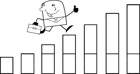 Black And White Businessman Giving A Thumb Up And Running Over Growing Bar Chart Cartoon Character