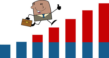 growing up: African American Businessman Giving A Thumb Up And Running Over Growing Bar Chart Cartoon Character