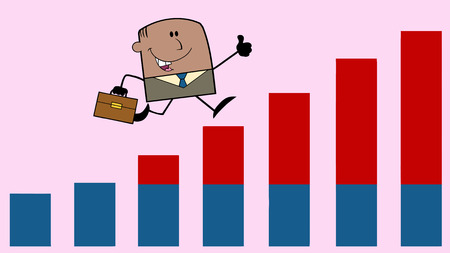 growing up: African American Businessman Giving A Thumb Up And Running Over Growing Bar Chart On Background