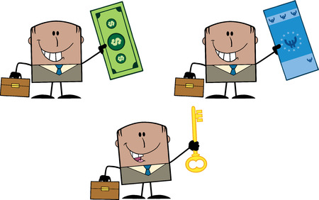 male symbol: Businessman Dude Cartoon Character 11  Collection Set Illustration