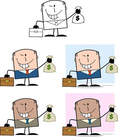 Businessman Dude Cartoon Character 4  Collection Set Vector