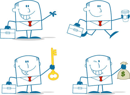 Businessman Dude Monochrome Cartoon Character 2  Collection Set Vector