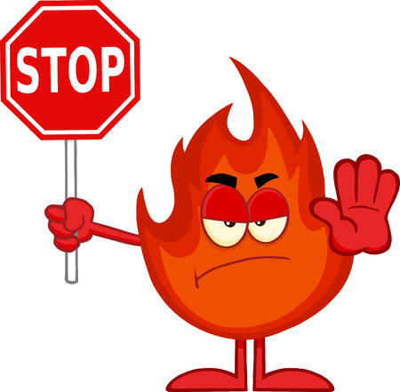 Angry Fire Cartoon Mascot Character Holding A Stop Sign