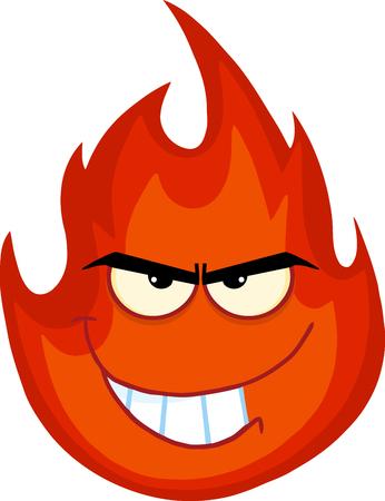 Evil Fire Cartoon Mascot Character