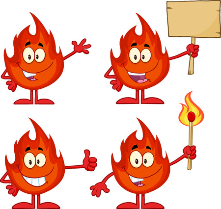 Flame Cartoon Mascot Character 3. Collection Set Vector