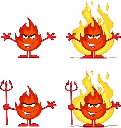 dangerous: Flame Cartoon Mascot Character 5. Collection Set