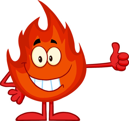 fireballs: Smiling Flame Cartoon Mascot Character Giving A Thumb Up