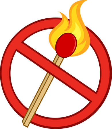 cross match: Stop Fire Sign With Burning Match Stick
