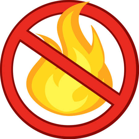 danger do not cross: Stop Fire Sign With Burning Flame
