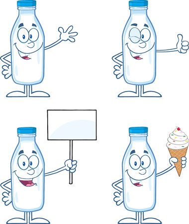 Funny Milk Bottle Cartoon Mascot Characters 2. Collection Set Vector