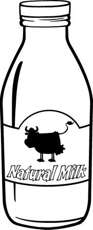 Blanco y negro leche de la historieta botella con la etiqueta de texto