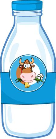 Bouteille de lait avec la vache de bande dessinée Chef étiquette Banque d'images - 31636224