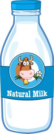 leche y derivados: Botella de leche con la historieta de etiqueta y el texto Vectores