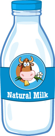 Milk Bottle With Cartoon Label And Text Vector