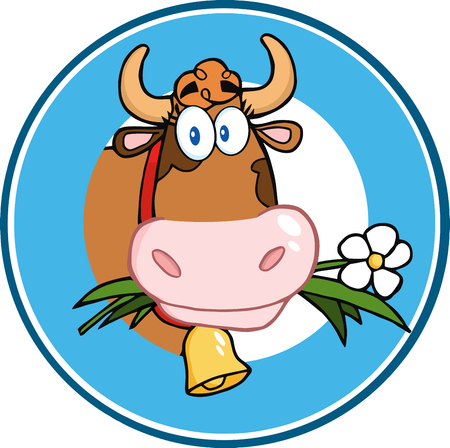 moo: Cartoon Circle Label With Cow