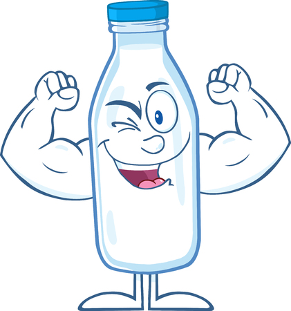 Winking Milk Bottle Cartoon Mascot Character Showing Muscle Arms Illustration
