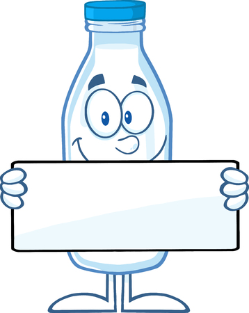 milkman: Funny Milk Bottle Cartoon Mascot Character Holding A Banner Illustration
