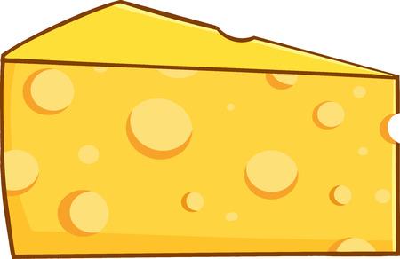 黄色のチーズの漫画ウェッジ  イラスト・ベクター素材