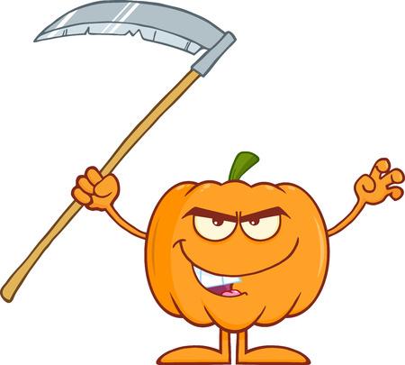 calabaza caricatura: Asustar Calabaza de Halloween con guadaña Cartoon carácter de la mascota
