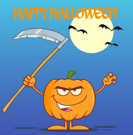 scaring: Scaring Halloween Pumpkin With A Scythe Greeting Card Illustration