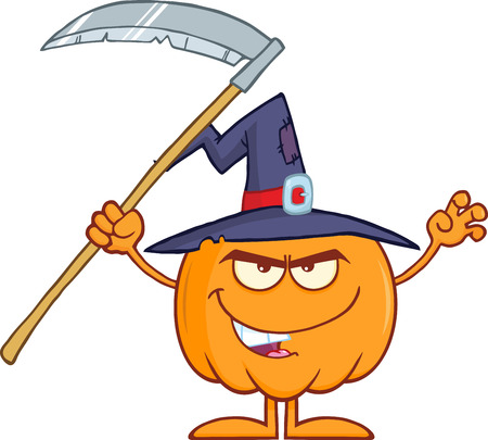 scaring: Scaring Halloween Pumpkin With A Witch Hat And Scythe Cartoon Mascot Character