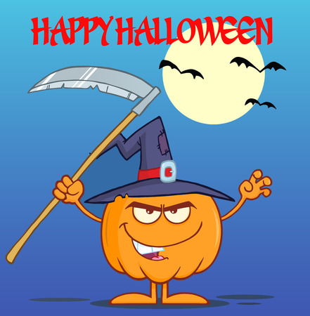 scaring: Scaring Halloween Pumpkin With A Witch Hat And Scythe Greeting Card Illustration