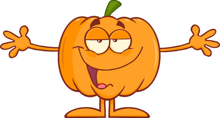 october 31: Funny Halloween Pumpkin Cartoon Character With Open Arms For Hugging