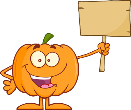 Happy Halloween Pumpkin Cartoon Mascot Character Holding A Wooden Board