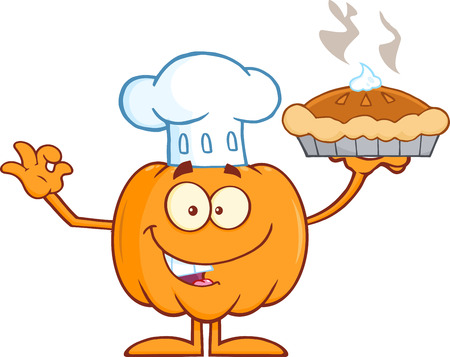 Chef Pumpkin Mascot Character Holding Perfect Pie