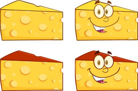 チーズの漫画イラストのくさび。コレクション セット