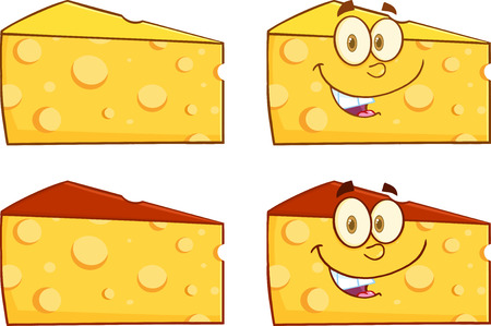 wedge: Wedge Of Cheese Cartoon Illustration. Collection Set Illustration
