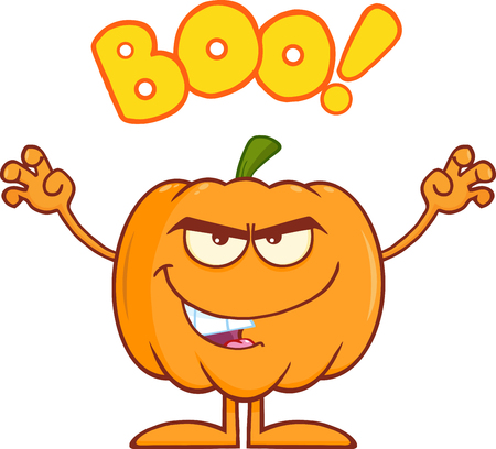 scaring: Scaring Halloween Pumpkin Cartoon Mascot Character With Text Boo