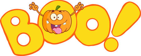 scaring: Boo Text With Scaring Halloween Pumpkin Cartoon Mascot Character