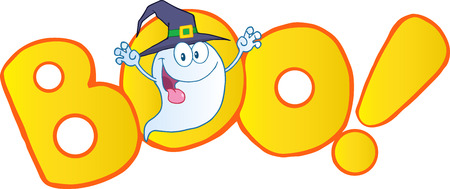 boo: Boo Text With Scaring Halloween Ghost With A Witch Hat