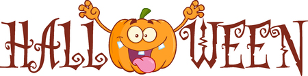 scaring: Halloween Text With Scaring Pumpkin Cartoon Character