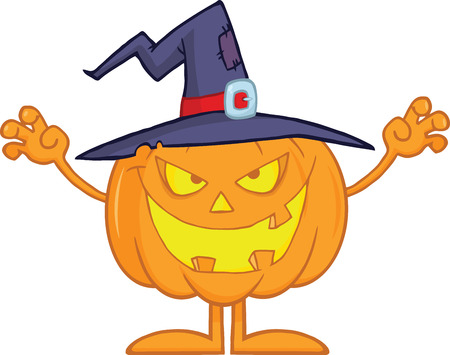 scaring: Scaring Halloween Pumpkin With A Witch Hat