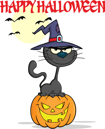 Halloween Black Cat With A Witch Hat On Pumpkin Cartoon Character And Text Vector