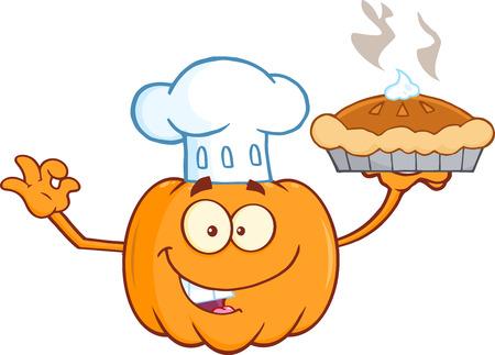 calabaza caricatura: Chef calabaza de la historieta de la mascota del personaje Holding Perfect Pie Vectores
