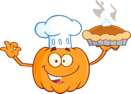 Chef Pumpkin Cartoon Mascot Character Holding Perfect Pie