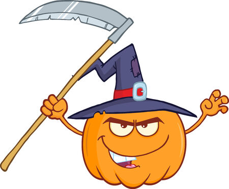 scaring: Scaring Halloween Pumpkin With A Witch Hat And Scythe Cartoon Character