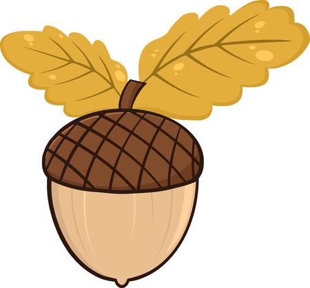 acorn seed: Acorn With Oak Leaves Cartoon Graphic Illustrations