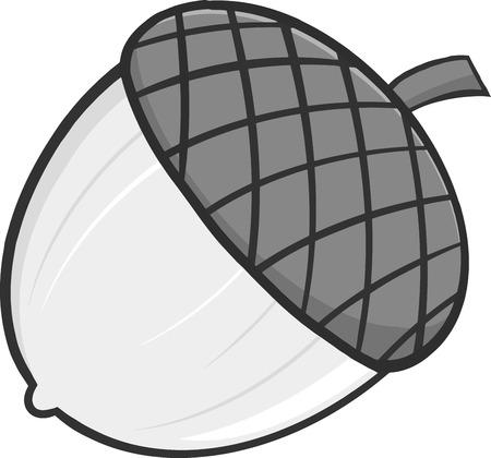 Acorn Cartoon Illustrations In Gray Color Ilustração
